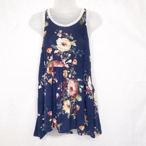 7th Ray Floral Baby Doll Racerback Tank M NWT